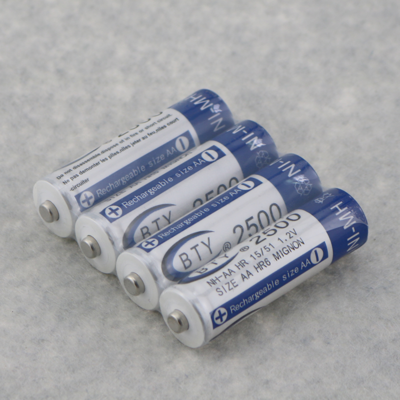 8pcs/lot, High Quanlity Rechargeable Battery AA 2500mAh BTY NI-MH 1.2V Rechargeable 2A Battery Baterias Bateria Batteries
