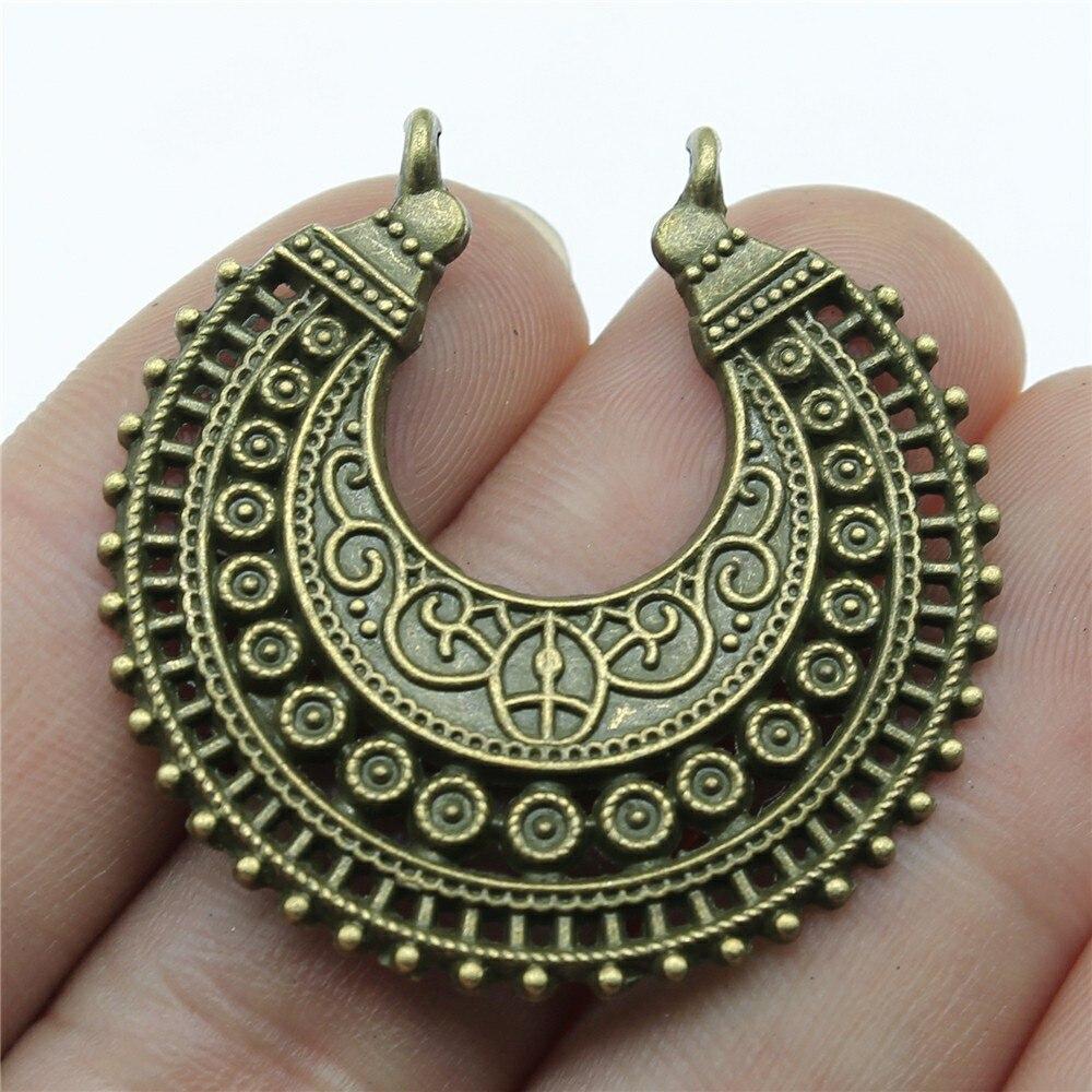 WYSIWYG 2 sztuk 38x37mm urok półksiężyc kolczyki znalezienie w stylu Vintage Bohemia półksiężyc kolczyki w stylu Vintage znalezienie do tworzenia biżuterii