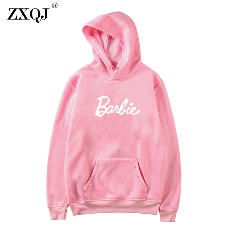 Barbie Letter Harajuku Casual Coat Two Layers Hat 2017 Winter Fleece Pink Pullover Thick Loose Women Hoodies Sweatshirt Female