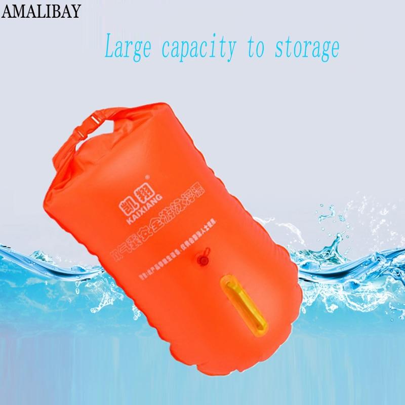 Amalibay Sicherheit Schwimmen Schwimmenden Beutel Aufgeblasen Leben Boje Flotation Trocken Wasserdichte Tasche Für Pool Open Wasser Meer Schwimmen Doppel Airbag