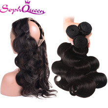Soph Queen Hair 360 Lace Frontal Closure With Bundles Indian Body Wave Human Hair Weave Bundles With Closure Remy Hair(China)