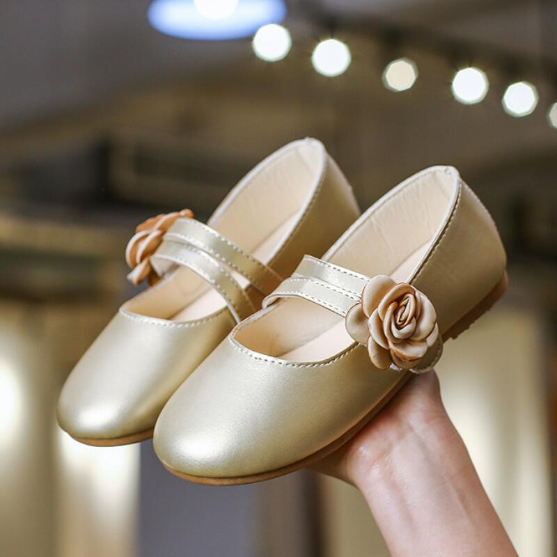 SKHEK White Pink Gold Kids Baby Flower Shoes Children Wedding Party Dress Princess Leather Sandal For Teens Girl Dance Shoes New