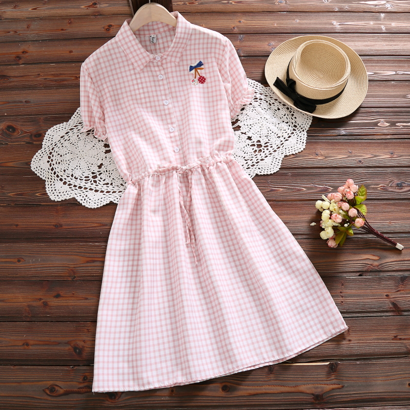 New Fashion Vintage Vestidos 2018 Mori Girl Summer Dress Women Short Sleeve Pink Plaid Cotton Dresses S-XXL C