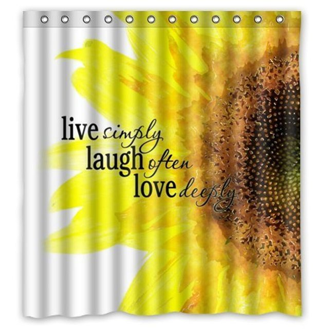 Watercolor Sunflower Art With Live Laugh Love Quotes Print Waterproof Bathroom Fabric Shower Curtain