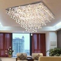 Квадратный кристалл потолочный светильник светодиодный крепеж для потолочных светильников Роскошная спальня гостиная Plafonnier из нержавеющ