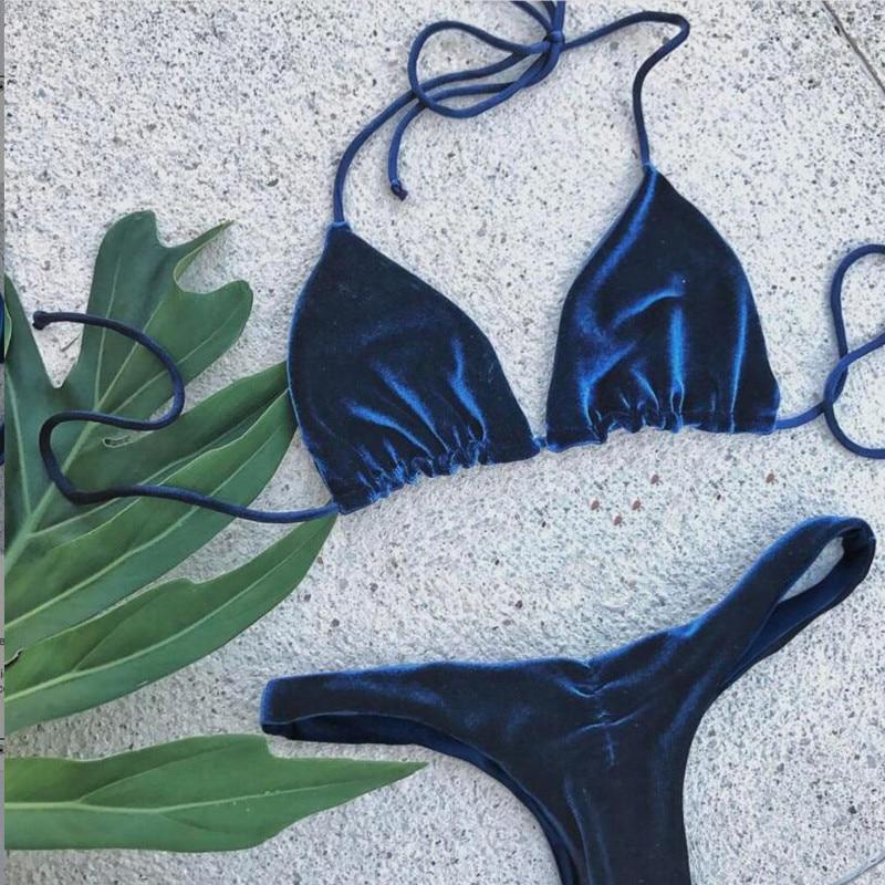 Sexy Brazilian Bikini 2017 Blue Velvet Swimwear Women Swimsuit Push up Biquini Halter Bikinis Set Bathing Suit Maillot De Bain колонки sven sps 555 2 0 черный 6вт