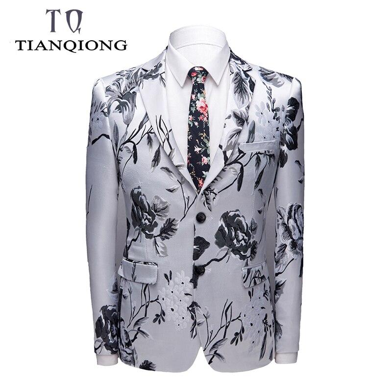 Mens Brand Plus Size Floral Blazer Jacket 2019 Brand Mens Slim Fit Blazer 4XL Men's Blazers And Suit Jackets Prom Party Wear