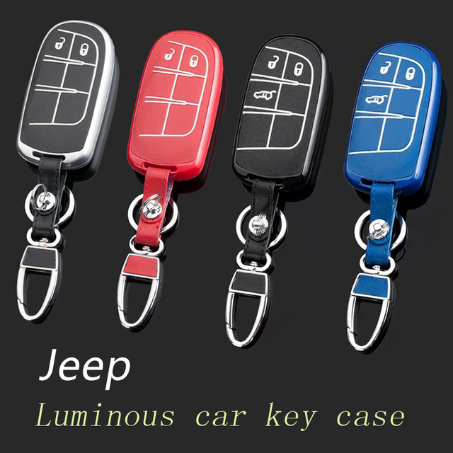 Genuine Leather Car Keychain Key Fob Case Cover wallet for Jeep Cherokee Grand Cherokee Wrangler Compass Patriot Key Holder bag