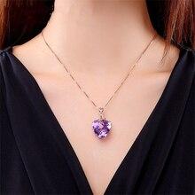 Роскошный кулон в форме сердца из аметистина, 18CK, цепочка из розового золота, драгоценный камень, натуральный фиолетовый кристалл, ожерелья для женщин, свадебные, вечерние, ювелирные изделия