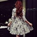 Оригинальный 2017 Бренд Vestidos Весна Плюс Размер Вышивки Тонкая Талия Случайные Элегантный Белый Dress Женщины Оптовая