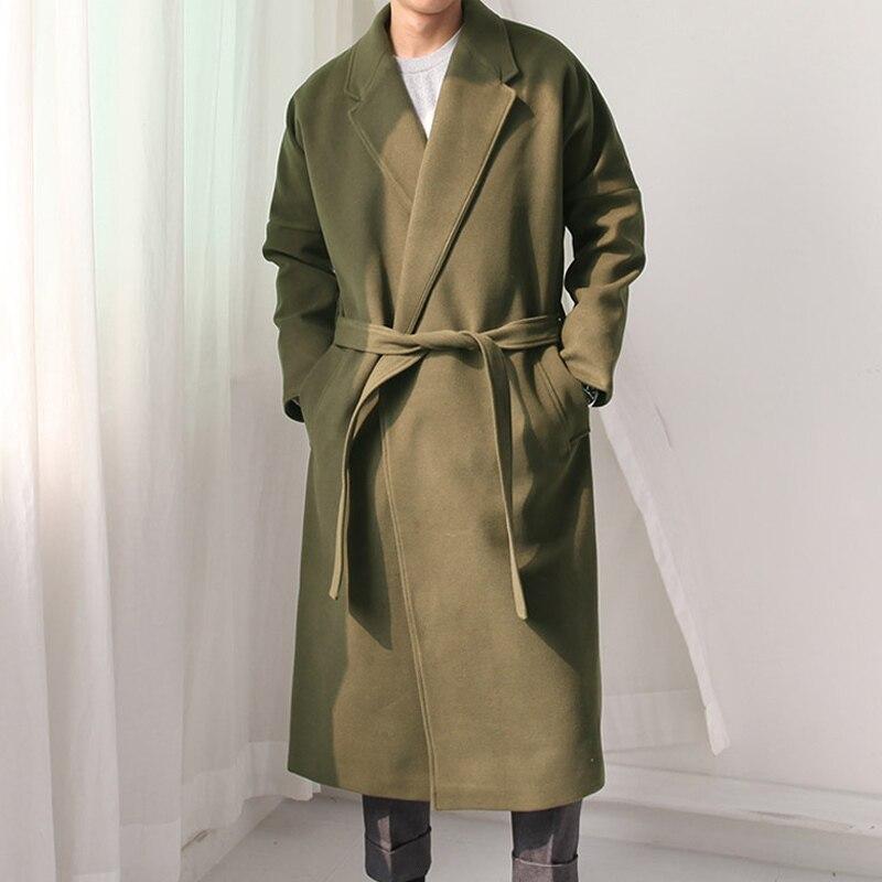 woolen overcoat with belt loose fit man long coat trench. Black Bedroom Furniture Sets. Home Design Ideas