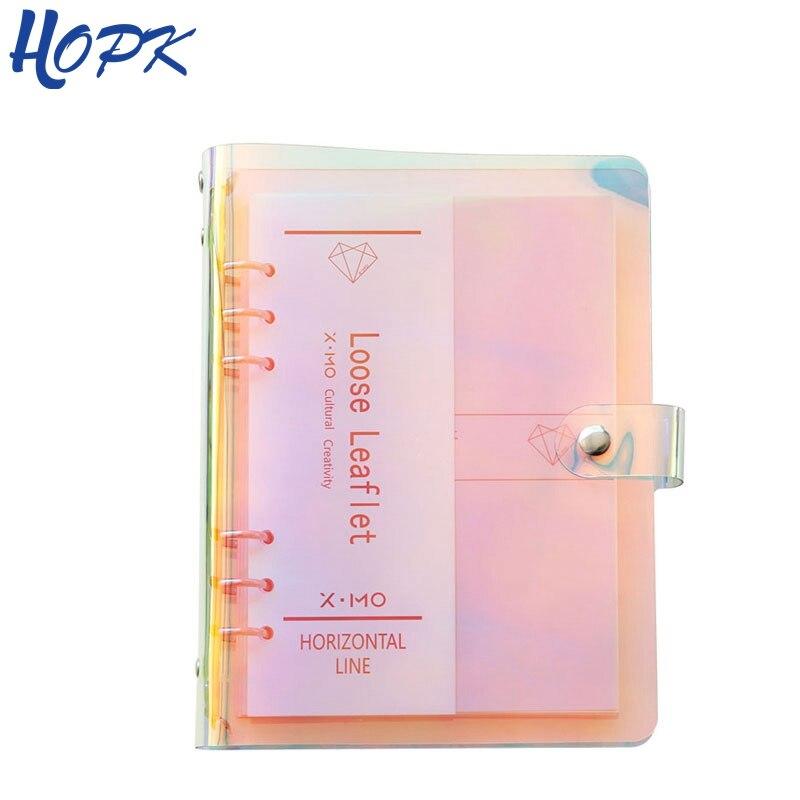Láser a color CUBIERTA DE LA Notebook de A5 A6 PVC creativo Binder de hoja suelta nota libro diario Journ planificador de Agenda 2019 la escuela suministros