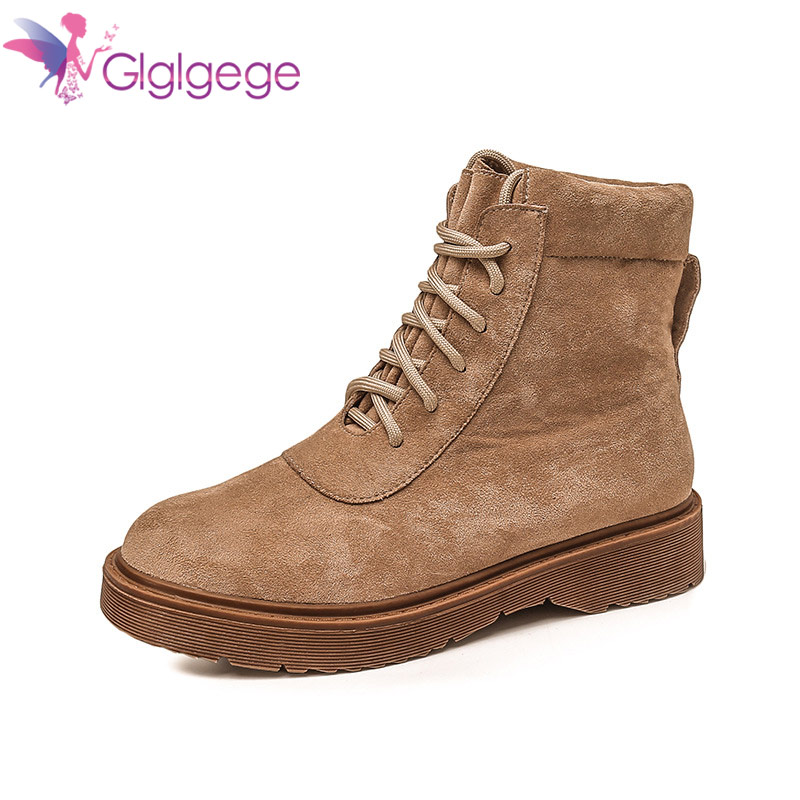 Glglgege Female British Wind Flat Student Tooling Boots Short Boots 2018 New Winter Flat Ankle Boots For Women Black BrownGlglgege Female British Wind Flat Student Tooling Boots Short Boots 2018 New Winter Flat Ankle Boots For Women Black Brown