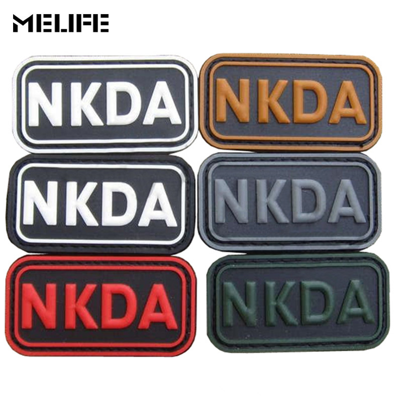 Souvenirs 3D PVC NKDA Patch Tactical Emblem Badges NKDA Letter Rubber Morale Patches With Hook&Loop 6 Colors For Clothing Bag
