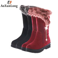 Fashion Zip Women Boots Leather Winter Warm Plush Boots Women Red Wine Mid Calf Snow Boots