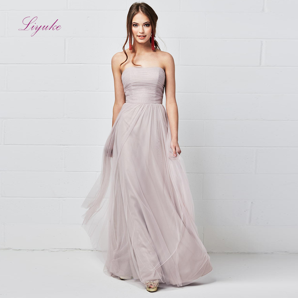 Liyuke A line   Bridesmaid     Dress   Long   Dress   Strapless Draped Tulle Zipper Custom Made Size Free Shipping