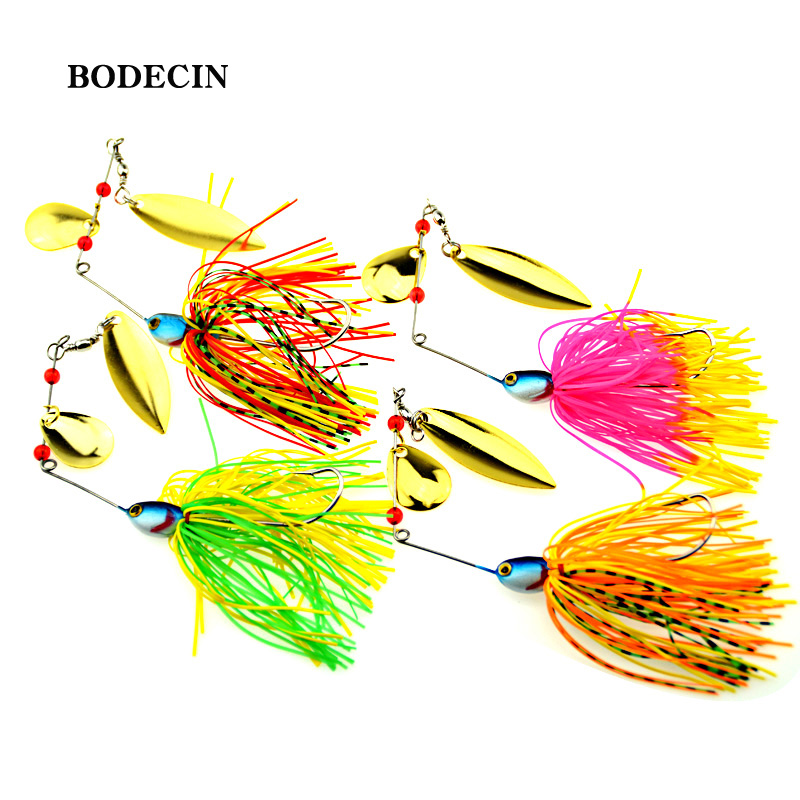 4PCS Fishing Lure Wobblers Lures Sinking 17G  SpinnersSpoon Bait Tackle Artificial Baits Metal Sequins Chartreuse Spinnerbait
