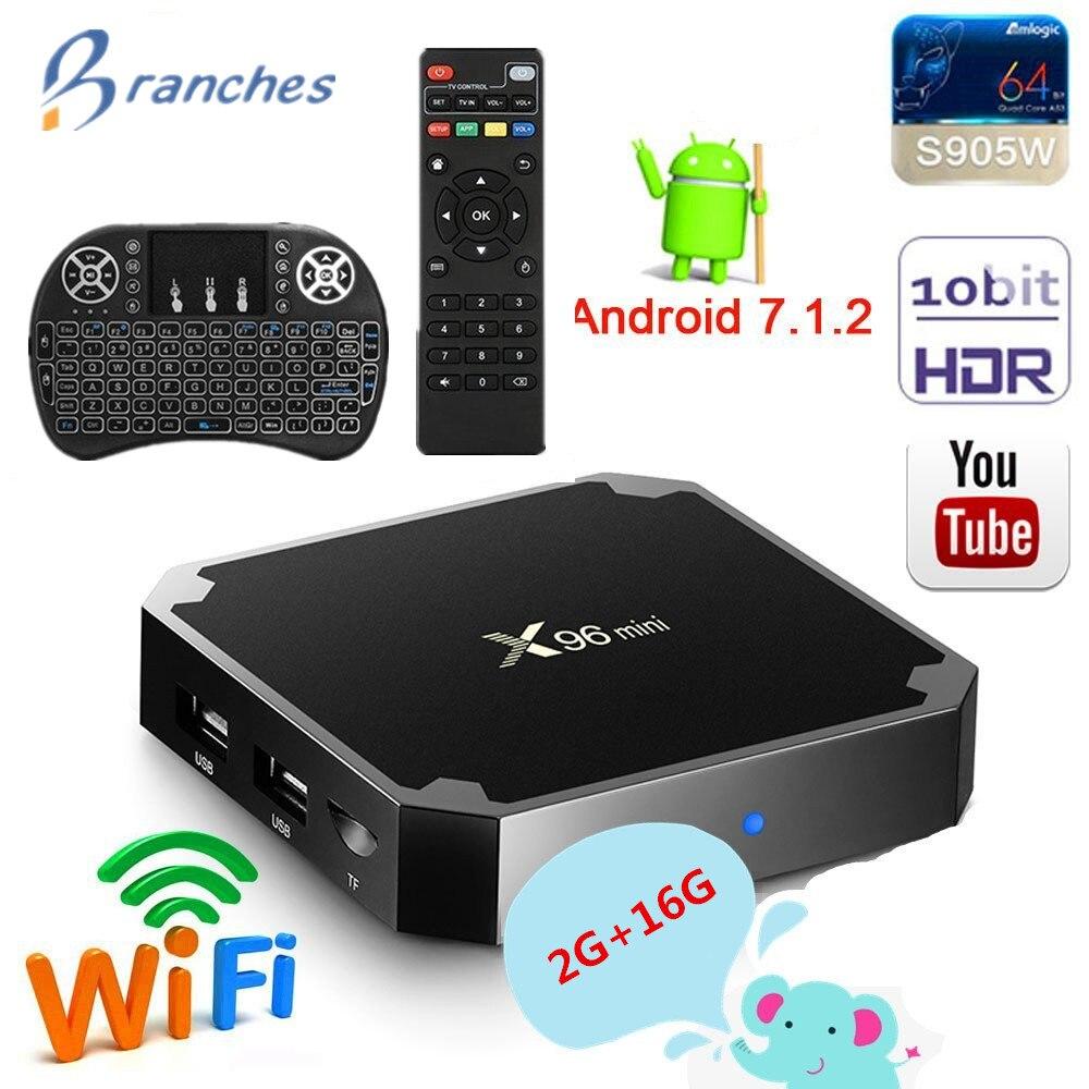 X96 mini caixa de tv android 7.1 gb 16 2 gb S905W Amlogic tvbox Quad Core Wi-fi Media Player 1 gb 8 gb X96mini inteligente Set-top Box tv