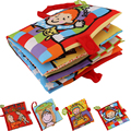 10 Pages Activity Book Cartoon Animal Soft Baby Educational Toy Cloth Book Plush Animal Story Intelligence Developing Toy