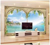3d Wallpaper Custom 3d Murals Wallpaper Wall Beautiful Scenery Roman Column Mountain Stream TV Setting Livingroom