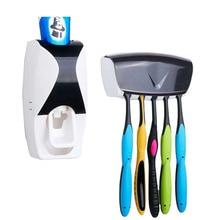 Automatic Toothpaste Dispenser 5 Toothbrush Set Wall Mount Bracket Family Plastic Bathroom Home Organizer