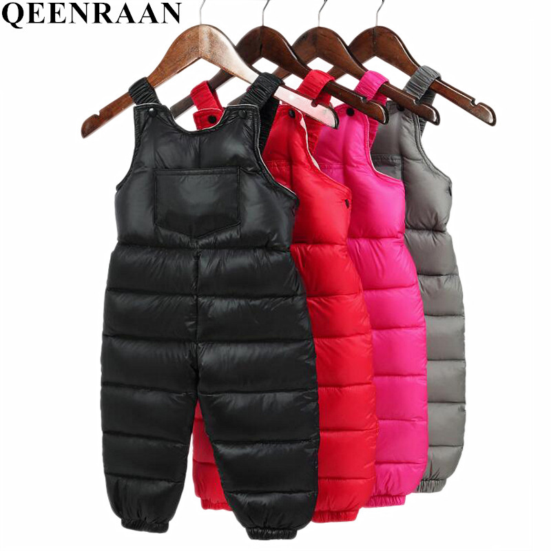 Children's Clothing Baby Boys Girls Bib Pants Autumn Winter Warm Down Cotton Trousers Kids Toddler Casual Pant Red Black Gray autumn winter korean baby boys pants cotton boys casual long trousers kids stripe clothing harem pants elastic waist jogger pant