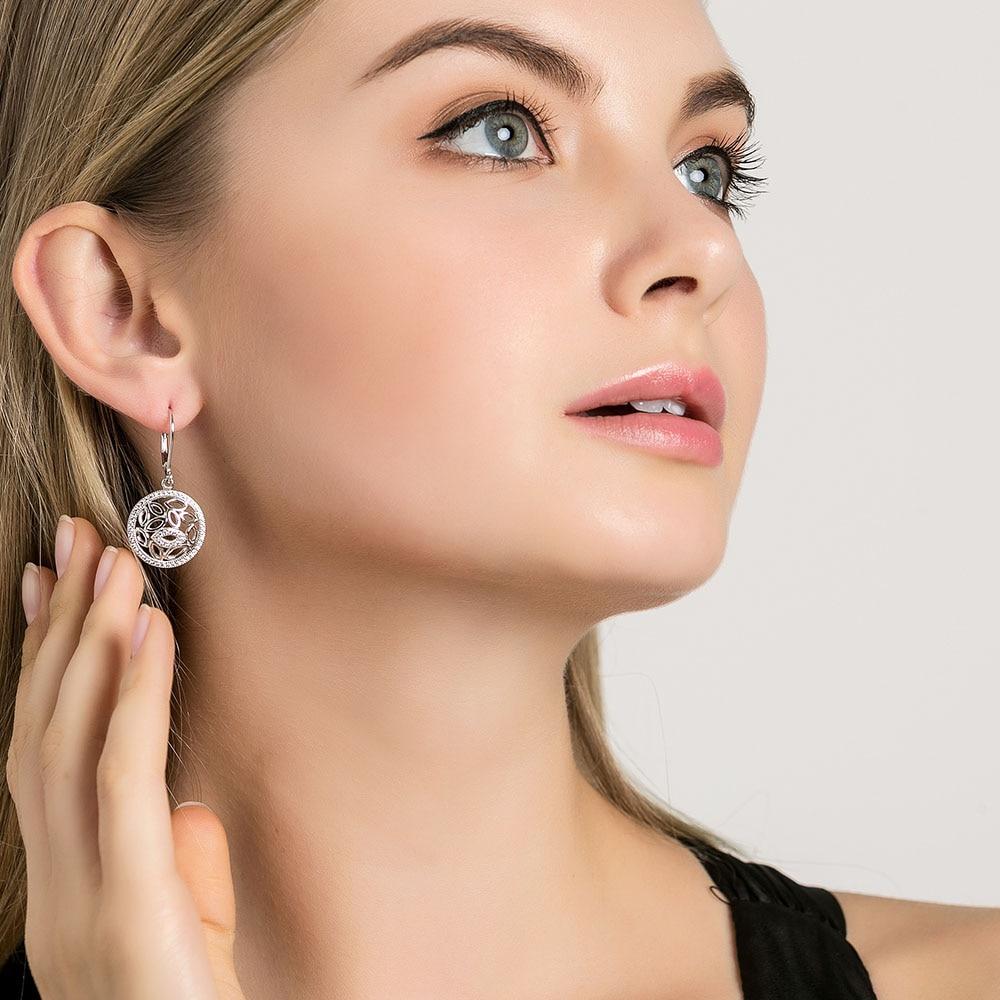 l&zuan 2CT 925 sterling silver white gold sterling silver jewelry Stud Earrings For Women