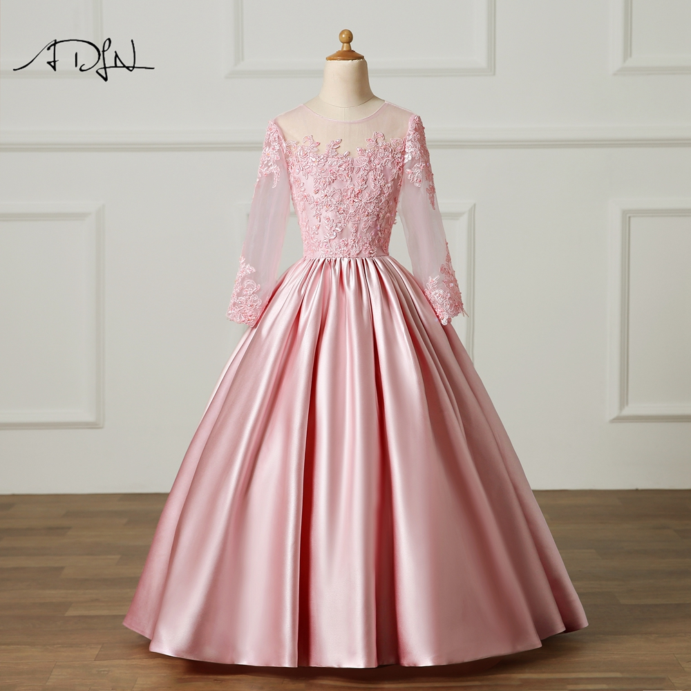 ADLN Cute Baby Pink Ball Gown   Girl's   Pageant   Dresses   Long Sleeve Satin Vestidos De Primera Communion   Flower     Girl     Dresses