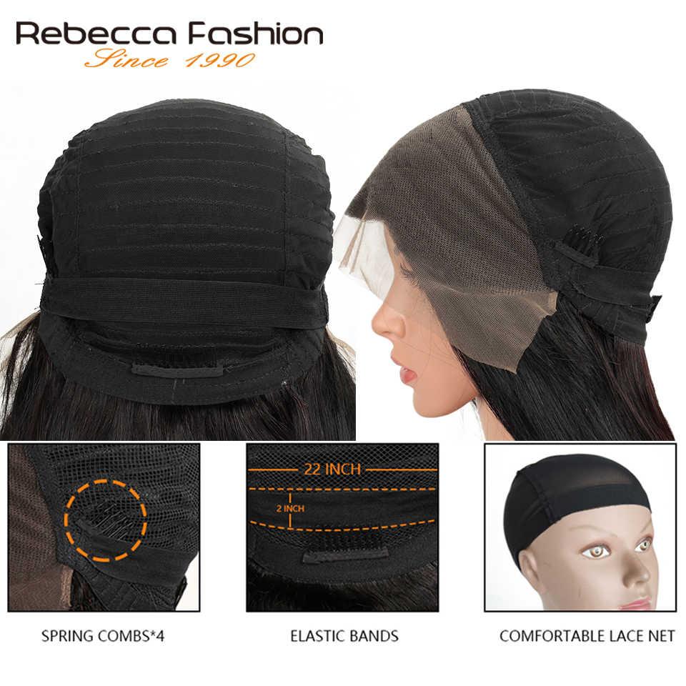 Rebeca 150% pelucas frontales de encaje de cabello humano 13X4 predesplumado cabello Remy brasileño onda del cuerpo pelucas frontales de encaje con pelo de bebé 28 pulgadas