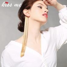 Punk Jewelry Accessories Dangle-Earrings Tassel Single Alloy Gold-Color Long Women Hyperbole