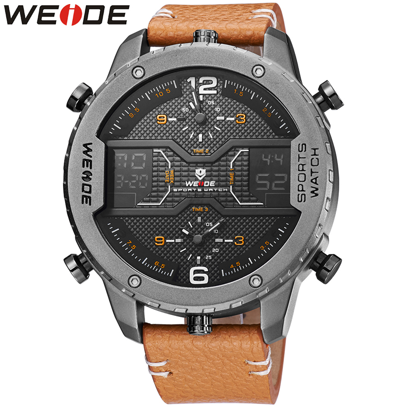 WEIDE Top Luxury Brand Sport Watches Man Classic Genuine Leather Strap Week Date Quartz Wrist Watch Popular Relogio MasculinoWEIDE Top Luxury Brand Sport Watches Man Classic Genuine Leather Strap Week Date Quartz Wrist Watch Popular Relogio Masculino