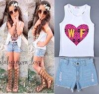 Summer Style Heart Shaped Pattern Children Set White Sleeveless T Shirt Denim Shorts Female Baby Suit