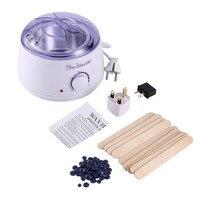 Electric Hot Wax Heater with 400g Hard Wax Beans & 10pcs Wax Applicator Sticks Beauty Hands Hair Removal