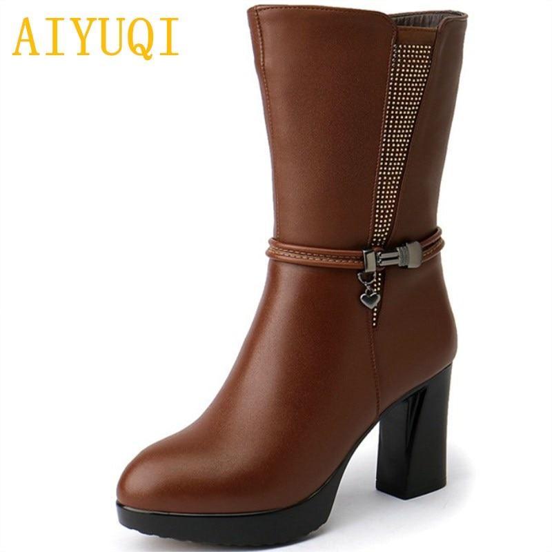 0e0acceb AIYUQI 2019 nuevas botas de invierno de cuero genuino para mujer, botas  gruesas de lana caliente para mujer, zapatos de tacón alto para mujer Martin
