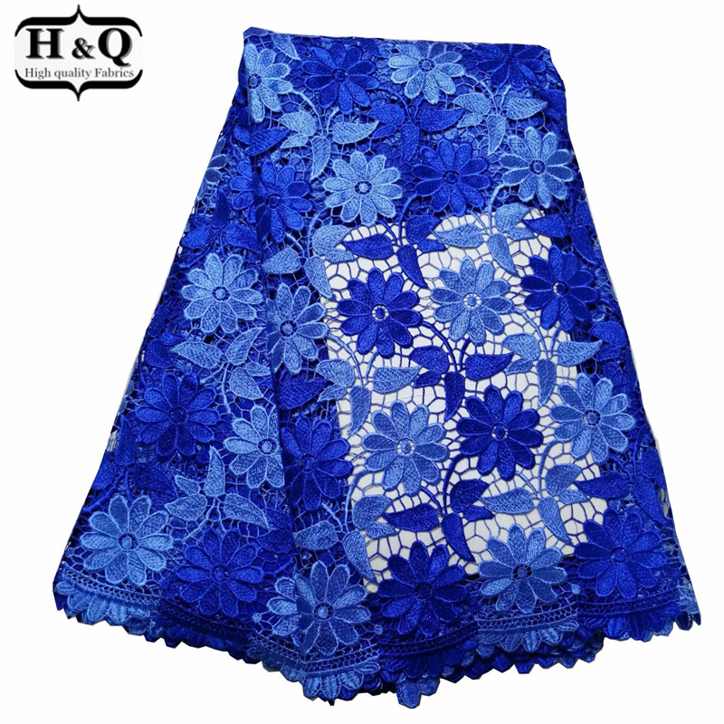 Blue African Water Soluble Lace Fabric 5 Yards African Cord Lace With High Quality Guipure Lace For Ladies Embroidered DressBlue African Water Soluble Lace Fabric 5 Yards African Cord Lace With High Quality Guipure Lace For Ladies Embroidered Dress
