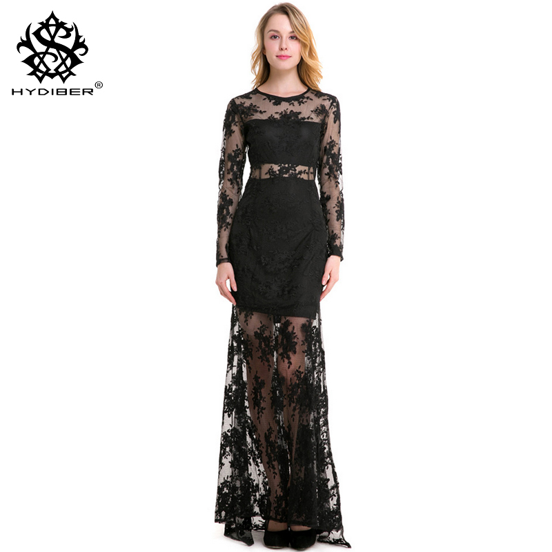 2018 New Plue size banquet dress banquet sexy hollow see through lace embroidery dress O collar long sleeves yarn long dresses ...