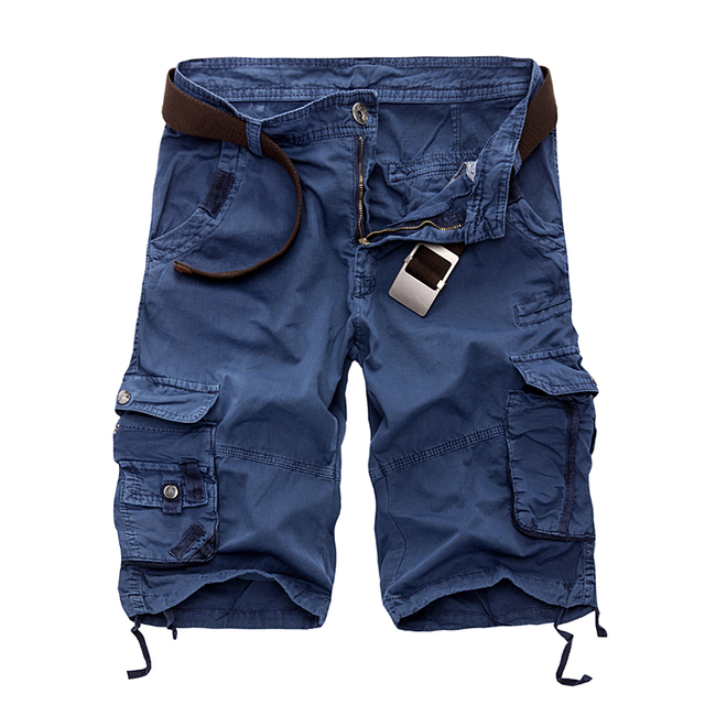 חדש 2019 גברים מכנסיים מקרית Loose קצר מכנסיים הסוואה צבאי קיץ סגנון הברך אורך בתוספת גודל 10 צבעים מכנסיים קצרים גבריםcargo shortsmens cargo shortsshorts men