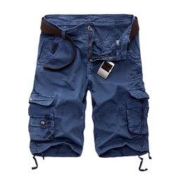 Neue 2019 Männer Cargo-Shorts Beiläufige Lose Kurze Hosen Camouflage Military Sommer Stil Knie Länge Plus Größe 10 Farben Shorts männer