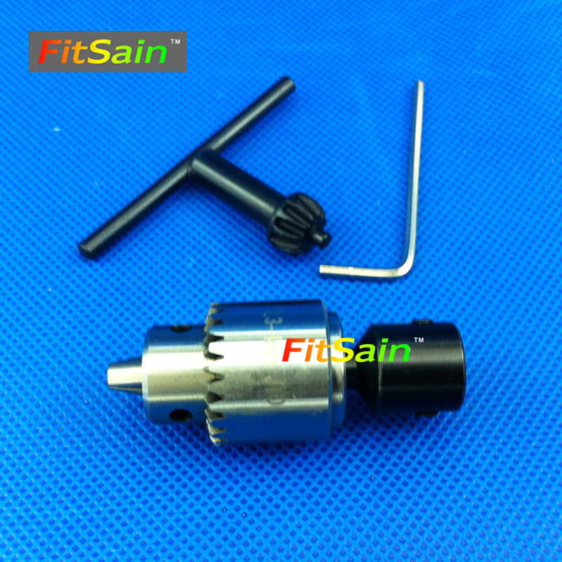FitSain--JT0 0.3-4mm mini drill chuck for motor shaft 4mm/5mm/6mm/8mm electric hand machine engraver diy pcb press wood metal fitsain ball bearing 775 motor 24v 7000rpm mini pcb hand drill press nail b10 drill chuck 0 6 6mm electric drill