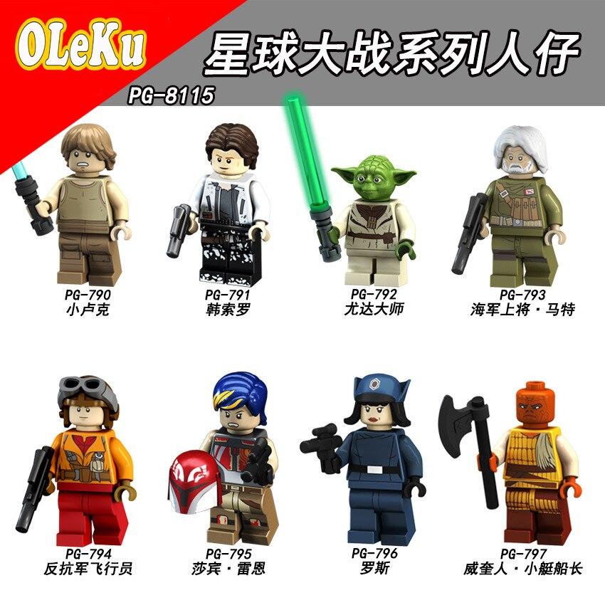 For Legoing Star Wars Rey The Last Jedi Starwars Darth Vader Luke Stormtrooper Yoda Model Building Blocks Bricks Toys Figures #2