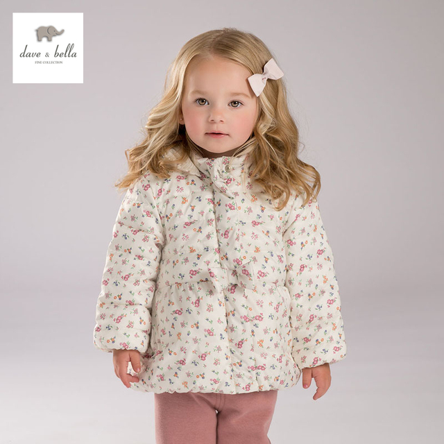 DB4209 DAVE BELLA meninas floral inverno acolchoado jaqueta de moda outerwear crianças roupas