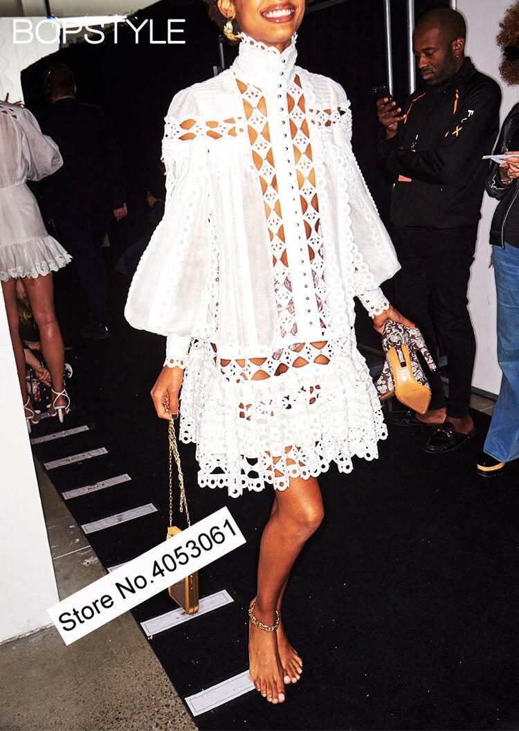 CHICEVER Spring Print Women Dress Stand Collar Lantern Sleeve High Waist Loose Slim Floor length A