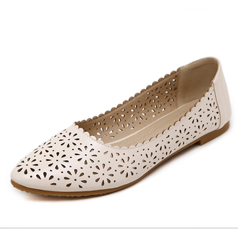 ФОТО 2017 High Quality Cut-out Women Sandals Flats Pointed Toe Summer Female Ballet Dance Shoes Woman Loafers Moccasins