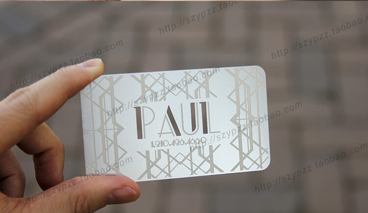 100pcs A Lot Deluxe Metal Business Card Vip Cards,double-side Free Shipping No.3023 Spare No Cost At Any Cost Amiable Metallic Color Metal Business Cards