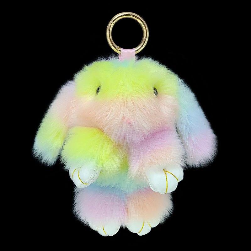 Новый цветной плюшевый кролик, кукла, брелок, подвеска для девочки, сумка для салона автомобиля, сплав, подвесное кольцо, ювелирное изделие, ...