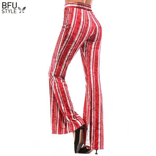 9801a47e6730 € 14.09 28% de DESCUENTO|Pantalones de pierna ancha de Palazzo de rayas S  3XL para mujer Pantalones largos sueltos de cintura alta para mujer ...