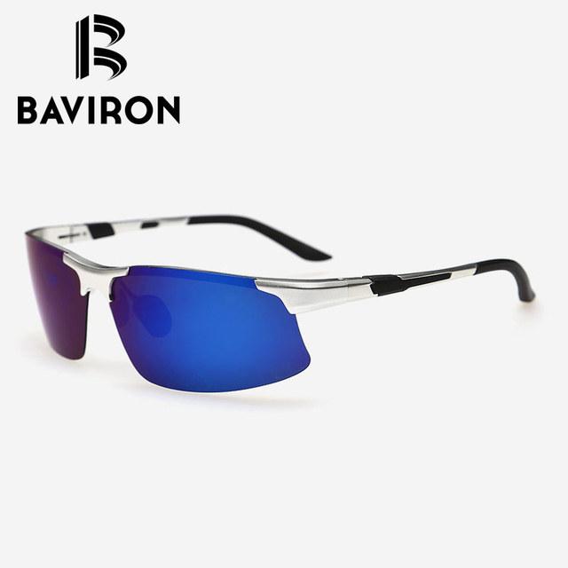 BAVIRON Mens AL-MG gafas de Sol Deportivas Gafas Polarizadas de Conducción UV400 Espejo Marcos De Aleación Durable Bastante Fresco Gafas 8128