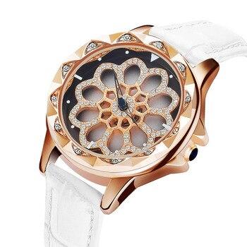 New Full Diamond Rose Gold Watch Rotating Woman Quartz Watch Ladies Fashion Watches Waterproof Top Brand Luxury Relogio Feminino diamond stylish watches for girls