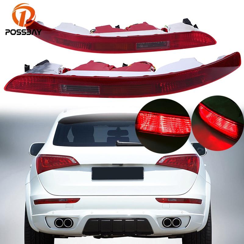 POSSBAY Car Rear Bumper Reflector Lamp Red Brake Parking Light Fog Lights for Audi Q5 2.0T 2009 2016 LED Stop Warning Lamps