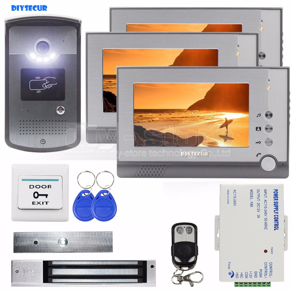 DIYSECUR 7inch Video Door Phone Door Bell Intercom RFID Reader Metal Night Vision Camera Magnetic Lock Remote Control System saful 7 inch lcd wired video door phone intercom waterproof night vision button electric lock control function free shipping